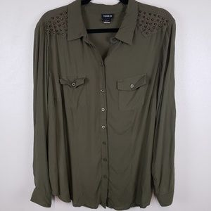 Torrid button up olive green embellished tunic
